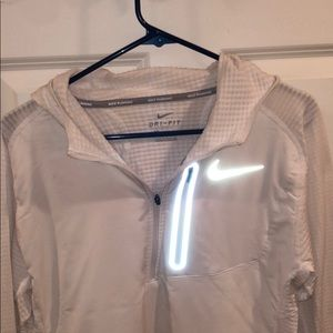 White Nike Dri-fit running pullover with hood